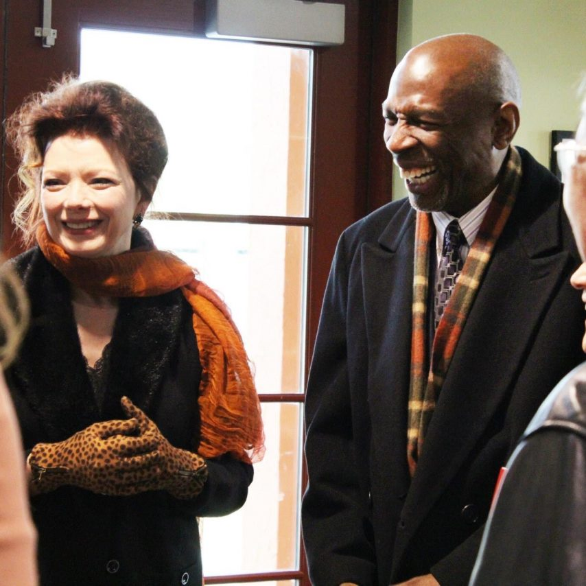 Angela with Harlem Children Zone founder, Geoffrey Canada on a tour of the Baker Ripley Neighborhood Center in Houston