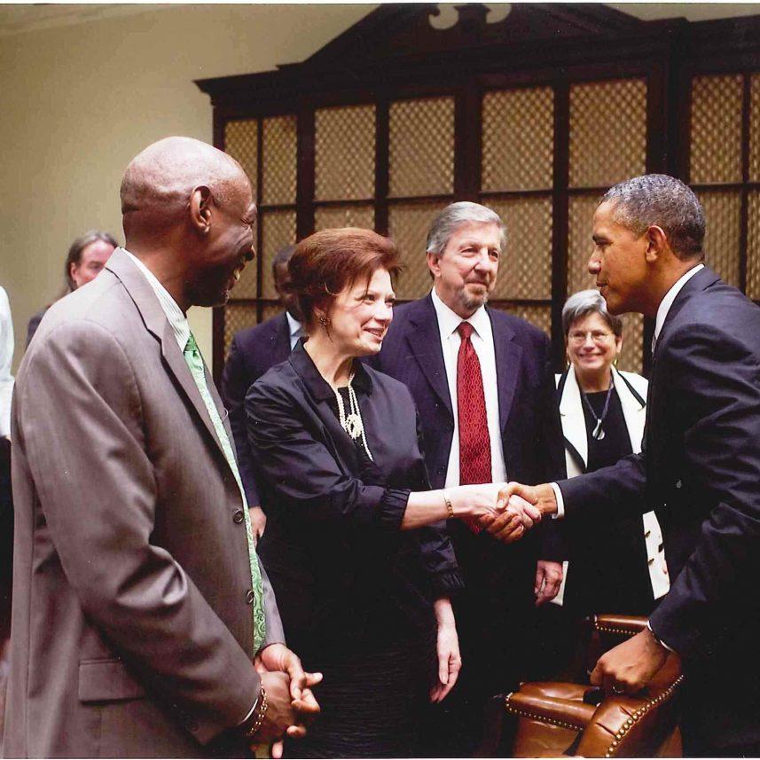 Angela meeting former President Barack Obama at the White House